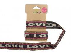 Zierband - Stripe Me Icon - Glow - Love - Albstoffe - rosa - grau