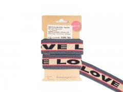 Zierband - BIO Stripe Me ICON - Albstoffe - Sparkle - Love - blau - rosa - natur - navy
