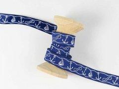 Webband - Maritim - Anker - Segelboote - blau - weiß