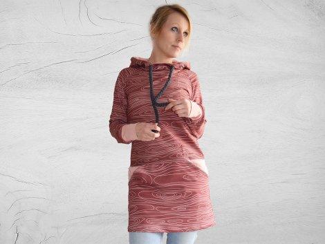 Schnittmuster - Sweatkleid mit Rockabtrennung, Kapuze/Kragen - 02-887 - Pattern Company