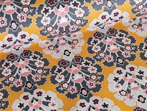 Baumwolle - beschichtet - Klaranähta - Blumen - senf - grau