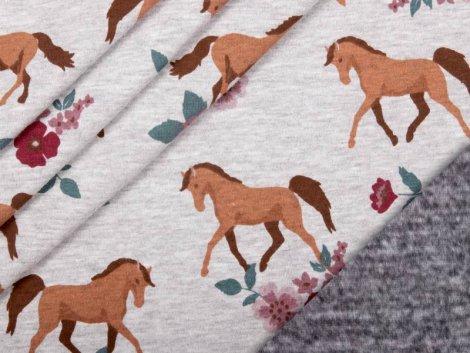 Alpenfleece - Pferde - Blumen - grau - meliert