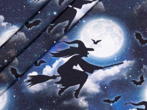 Jersey Single - Hexen - Vollmond - Fledermäuse - dunkelblau