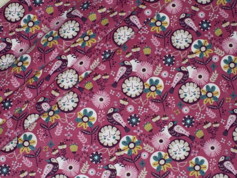 Feincord - Vögel - Blumen - Hilco - rosa