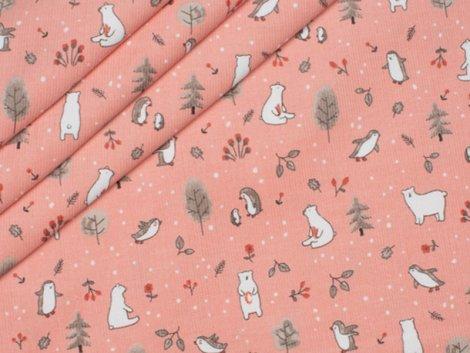 Feincord - Vögel - Bären - Hilco - rosa