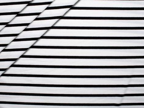 Jersey Viskose - Streifen - weiß - schwarz