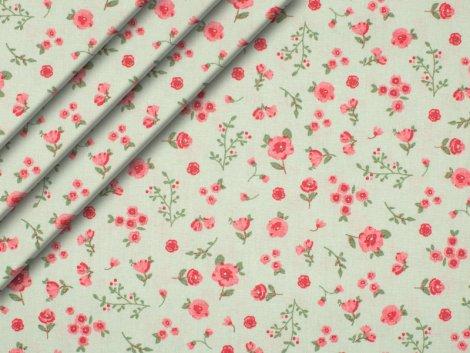 Bio-Baumwolle - Blumen - mint - rosa - grün
