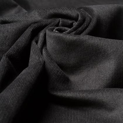 Reststück 0,40m - Feincord - Stretch - einfarbig - schwarz