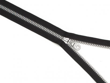 Reißverschluss YKK - schwarz - silber - 75cm - teilbar 75 cm