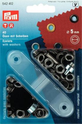 Ösen - 5 / 8 / 11 / 14mm - schwarz - Prym
