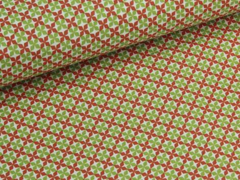 Baumwolle - Blüten - grün - orange