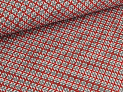 Baumwolle - Blüten - rot - grau - weiß