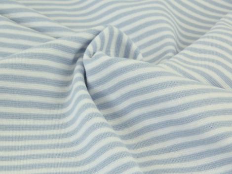 Bündchen Feinripp - Ringel - hellblau - weiß