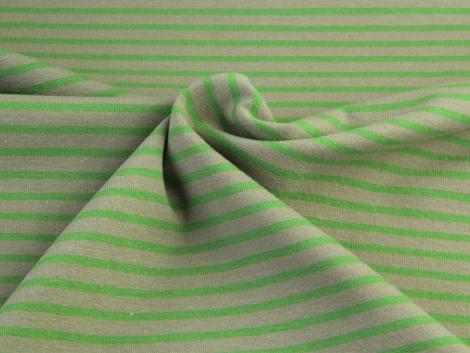 Jersey Single - Streifen - beige - grün