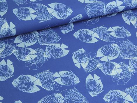 Reststück 0,60m - Baumwolle - Tiere - Fische - blau - hellblau