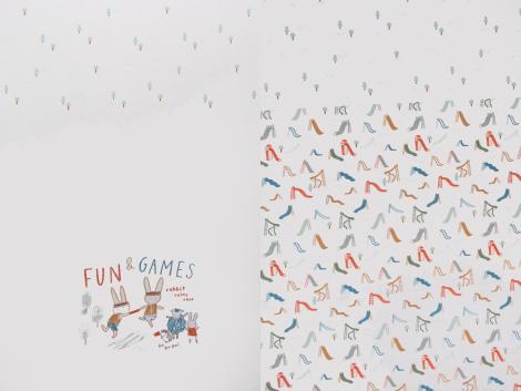 Bio Jersey Single - Panel - fun & games - natur - grün