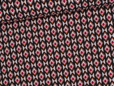 Reststück 1,25m - Viskose - Rauten - schwarz - braun - rot