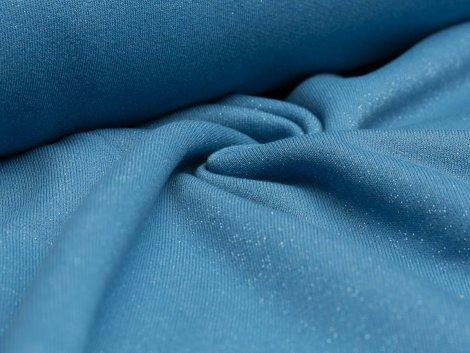 Resrstück 0,35m - Sweat - blau - Glitzer - angeraut