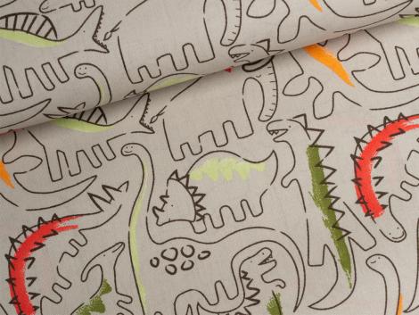 Baumwolle - Dinosaurier - beige