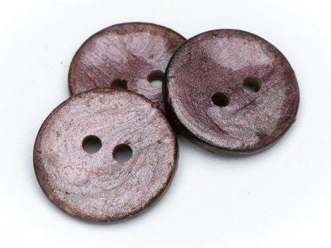 Knopf - Kokosnuss - 15mm - rund - mauve - braun