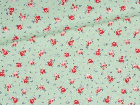Baumwolle - Rosen - hellgrün
