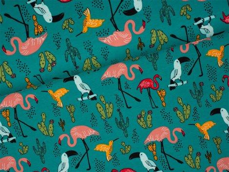 Sweat - Tropical Paradise - Flamingo - türkis