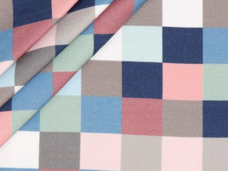 French Terry - Stenzo - Quadrate - rosa - hellblau - dunkelblau - hellbraun