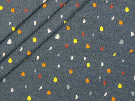 Jersey Single - Punkte - Dots - grau