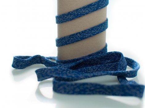 Kordel - 12mm - flach - blau - weiß