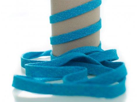 Kordel - 12mm - flach - hellblau - weiß