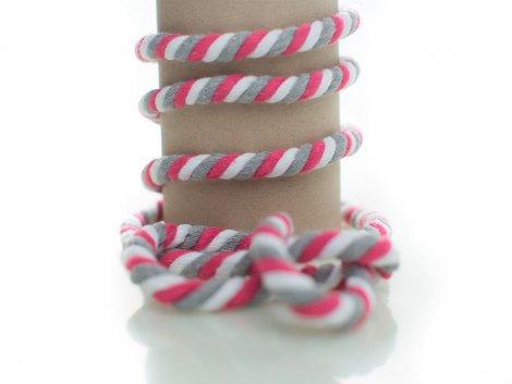 Kordel - 10mm - rund - pink - grau - weiß