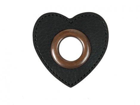 Patch - Herz - 11mm Öse - schwarz - altkupfer 11mm