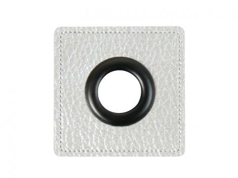 Patch - Quadrat - 11mm Öse - silber perlmutt - schwarz 11mm