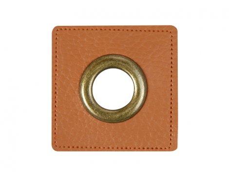 Patch - Quadrat - 11mm Öse - braun - altmessing brüniert 11mm