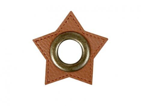 Patch - Stern - 11mm Öse - braun - altmessing brüniert 11mm