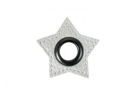 Patch - Stern - 8mm Öse - silber perlmutt - schwarz 8mm