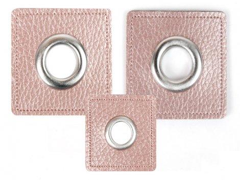 Patch - Quadrat - altrosa perlmutt - silber