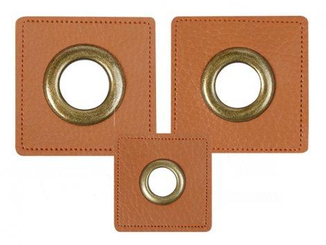 Patch - Quadrat - braun - altmessing brüniert