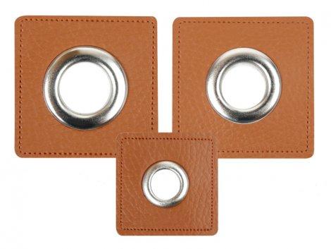 Patch - Quadrat - braun - silber