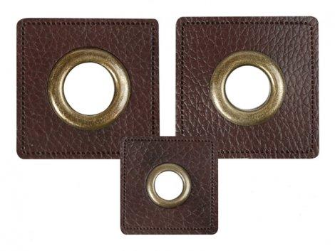 Patch - Quadrat - dunkelbraun - altmessing brüniert