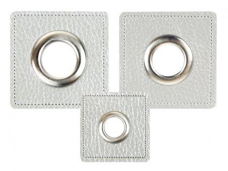 Patch - Quadrat - silber perlmutt - silber