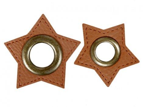 Patch - Stern - braun - altmessing brüniert