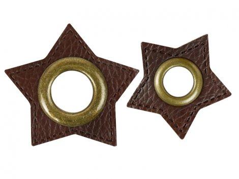 Patch - Stern - dunkelbraun - altmessing brüniert