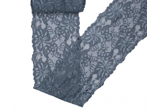 Spitze elastisch - 150mm breit - rauchblau
