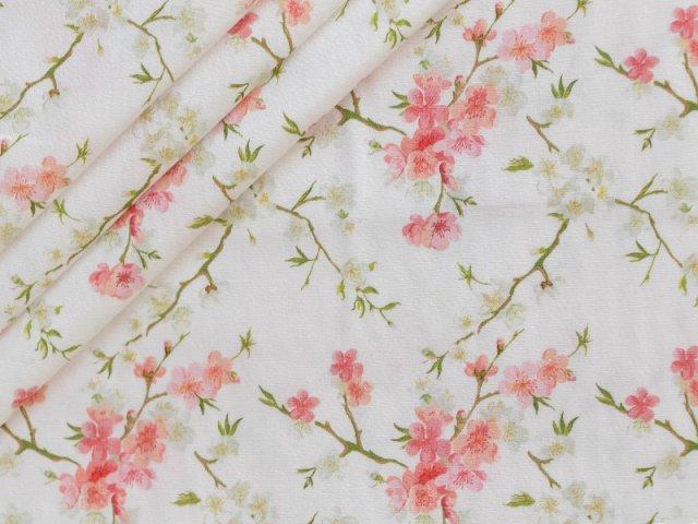 Popeline - Blumen -  Stenzo - pastell - apricot - grün - natur