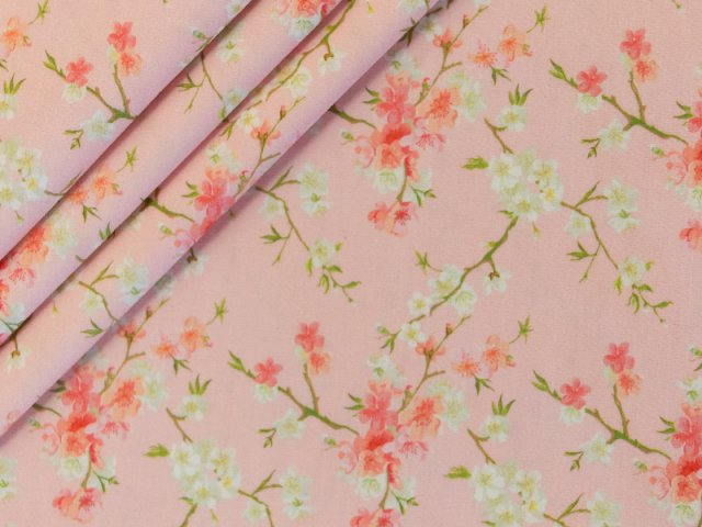 Popeline - Blumen -  Stenzo - pastell - rosa - apricot - grün -