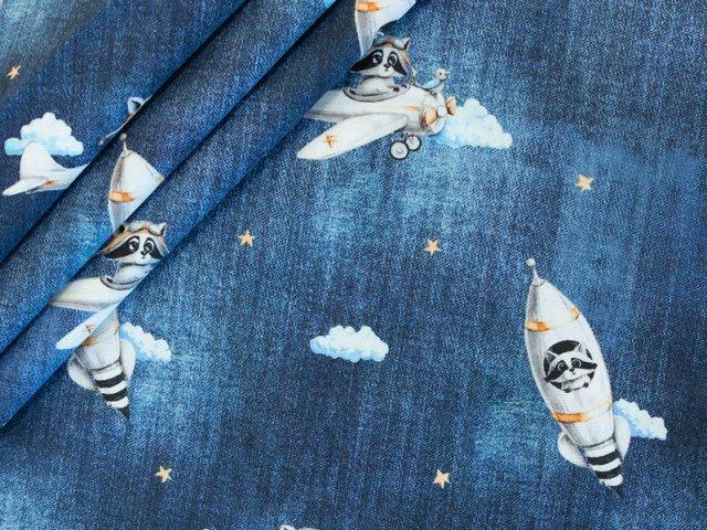 Popeline - Waschbär -  Rakete - Stenzo - Jeansblau