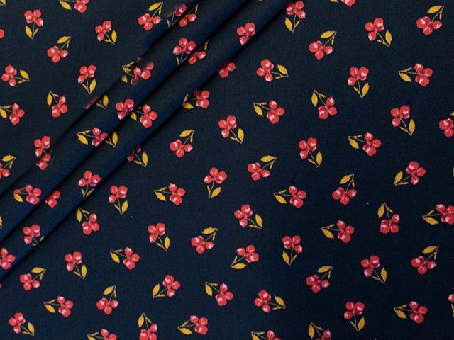 Baumwolle - schwarz - kleine - Blumen