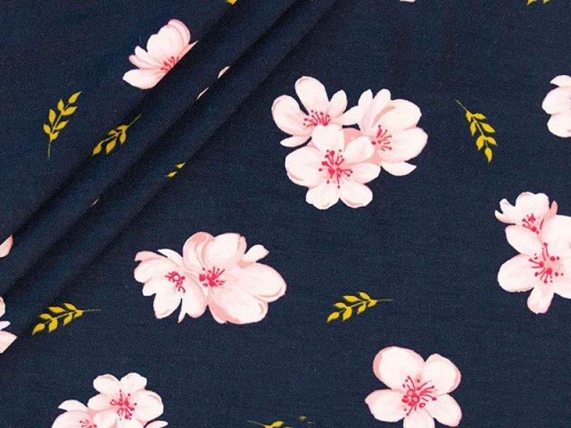 Modal Tencel Jersey - Blüten - rosa - dunkelblau