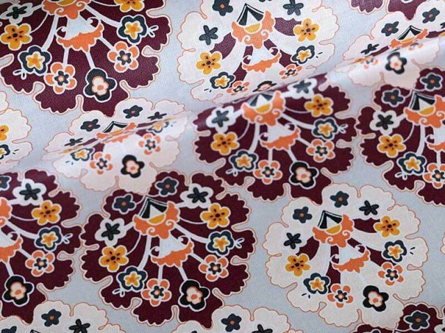 Baumwolle - beschichtet - Klaranähta - Blumen - grau - bordeaux